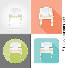 vanity table old retro furniture set flat icons vector...