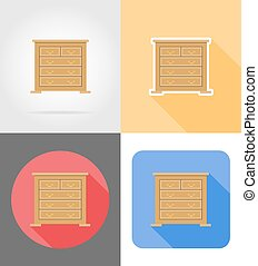 commode furniture set flat icons vector illustration...