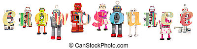 crowdsourse - The Word Crowdsourse with retro robot toys