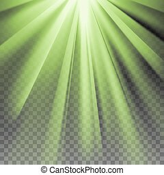 Green flare rays - Green flare. Glaring effect with...