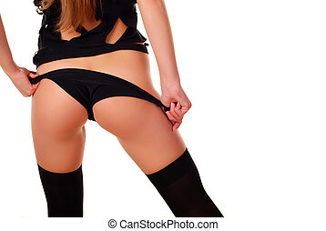 woman in black panties - body of a beautiful young woman in...
