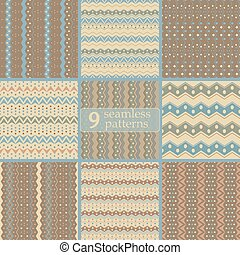 Set of seamless tribal color patterns with zigzags and dots