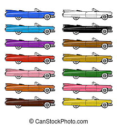 Retro Car Set Isolated on White BG - Authentic 1959 Classic...
