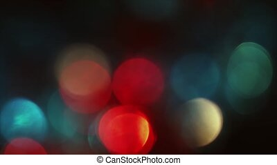 4K Pulsating Of Focus Circular Bokeh Red and Blue On Flicker
