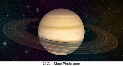 planet saturn with rings  on the space background