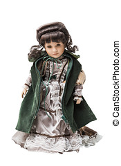 Vintage old smart porcelain doll toy in beautiful textile...
