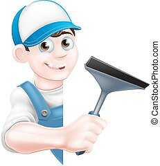 Cartoon Window Cleaner - A cartoon window cleaner man in a...