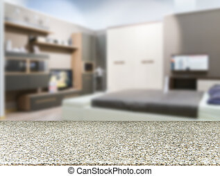 Marble empty table in front of blurred bedroom - Marble...