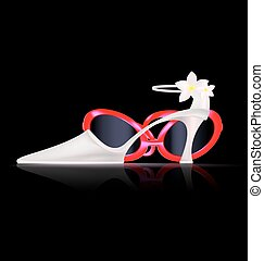 white shoe and red spectacles - dark background and the...