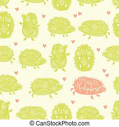 Seamless pattern with decorative hedgehogs. Cute kids...