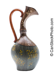 Antic engraved colored wooden vase in oriental style - Antic...