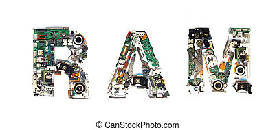 ram electronic - The word RAM made with letters that are...