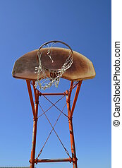 Rusty basketball backboard - An old rusty basketball...