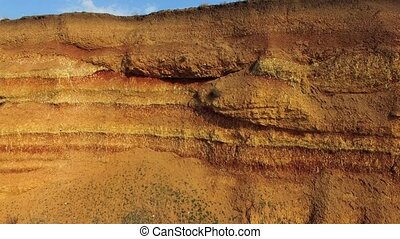 Steep Cliff Against Cloudy Sky - AERIAL VIEW. Long steep...