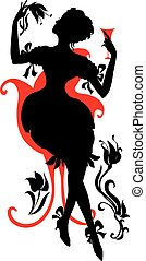Silhouette of woman with wine