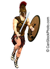 Antique warrior isolated - 3d CG illustration of antique...