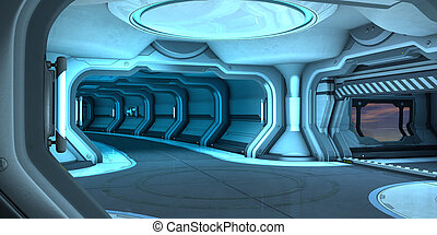 Sci-Fi corridor interior design 3d illustration