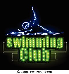Neon Light signboard for Swimming Club