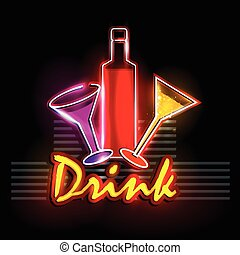 Neon Light signboard for Drink shop