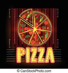 Neon Light signboard for Pizza shop - easy to edit vector...