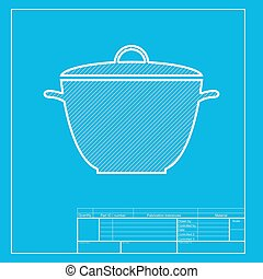 Saucepan simple sign. White section of icon on blueprint template.