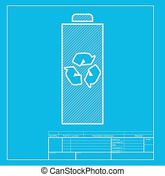 Battery recycle sign illustration. White section of icon on blueprint template.