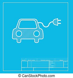Eco electric car sign. White section of icon on blueprint...