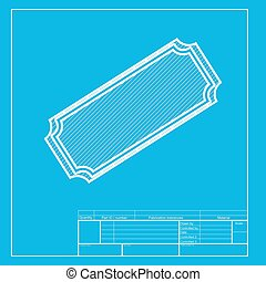 Ticket sign illustration. White section of icon on blueprint template.