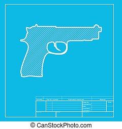 arma de fuego, señal, Ilustración, blanco,...