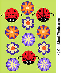 Seamless jolly pattern with Ladybug and flowers