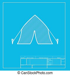 Tourist tent sign. White section of icon on blueprint template.