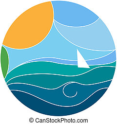 Vector illustration of a yacht sailing - Vector illustration...