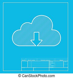 Cloud technology sign. White section of icon on blueprint template.