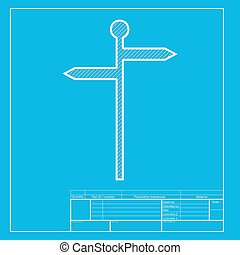 Direction road sign. White section of icon on blueprint template.