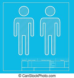 Gay family sign White section of icon on blueprint template...