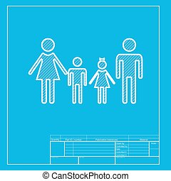 Family sign. White section of icon on blueprint template.