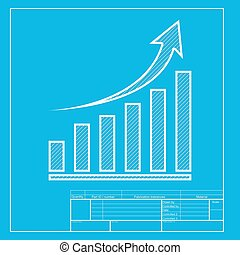 Growing graph sign. White section of icon on blueprint template.