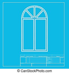 Window simple sign. White section of icon on blueprint template.