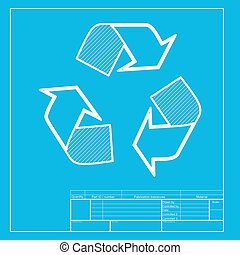 Recycle logo concept. White section of icon on blueprint template.