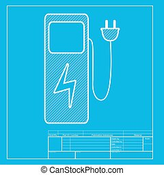 Electric car charging station sign White section of icon on...