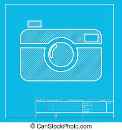 Digital photo camera sign. White section of icon on...