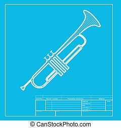 Musical instrument Trumpet sign White section of icon on...