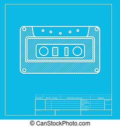 Cassette icon, audio tape sign. White section of icon on blueprint template.