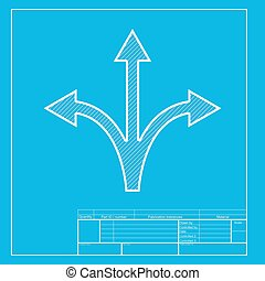 Three-way direction arrow sign. White section of icon on blueprint template.