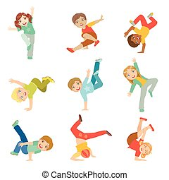 Kids Performing Modern Dance Set Of Cute Big-eyed Characters...