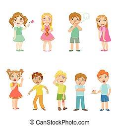 niños, con, enfermedades, Colección,