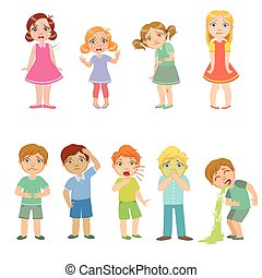 Kids With Maladies Set Of Cute Big-eyed Characters Flat...