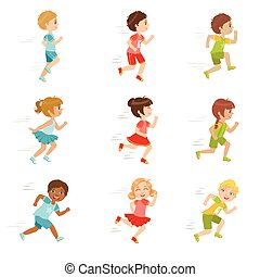 Kids Running Set Of Cute Big-eyed Characters Flat Vector...