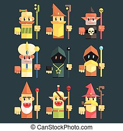 Flash Game Magician Set Of Flat Primitive Stylized Graphic...