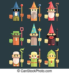 Flash Game Wizard Set Of Flat Primitive Stylized Graphic...